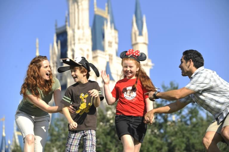 Happy family enjoying Disney World Florida