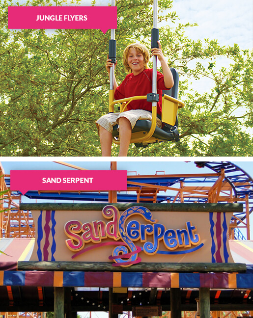 Boy on the Jungle Flyers zip line and the Sand Serpent entrance