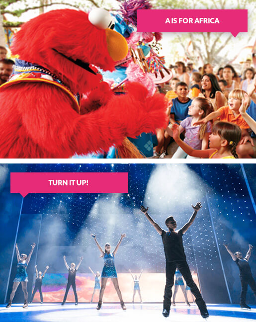 Elmo with children and dancers on stage at Busch Gardens