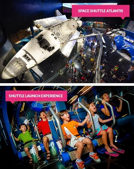Space Shuttle Atlantis and kids during the Space Shuttle Experience