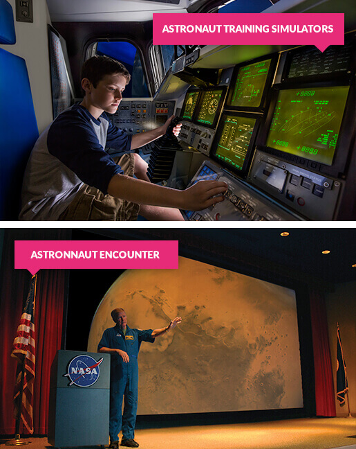 Boy in astronaut training simulator and real astronaut on stage