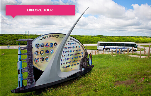 Kennedy Space Center sign and Explore Tour bus