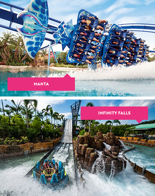 Manta and Infinity Falls rides at SeaWorld Orlando