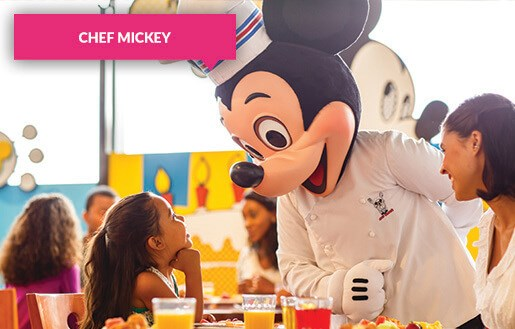 Chef Mickey with girl