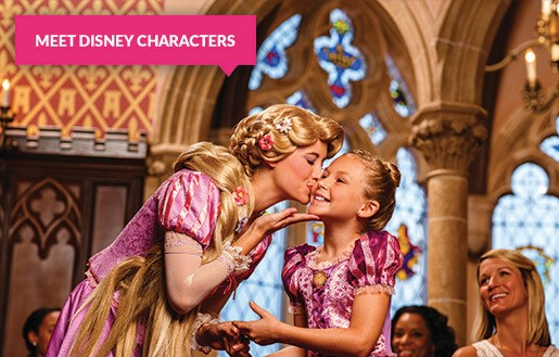 Rapunzel kissing a little girl