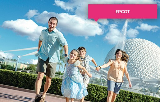 Family running at Epcot