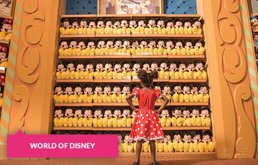 Little girl staring down a wall of Mickey toys at World of Disney