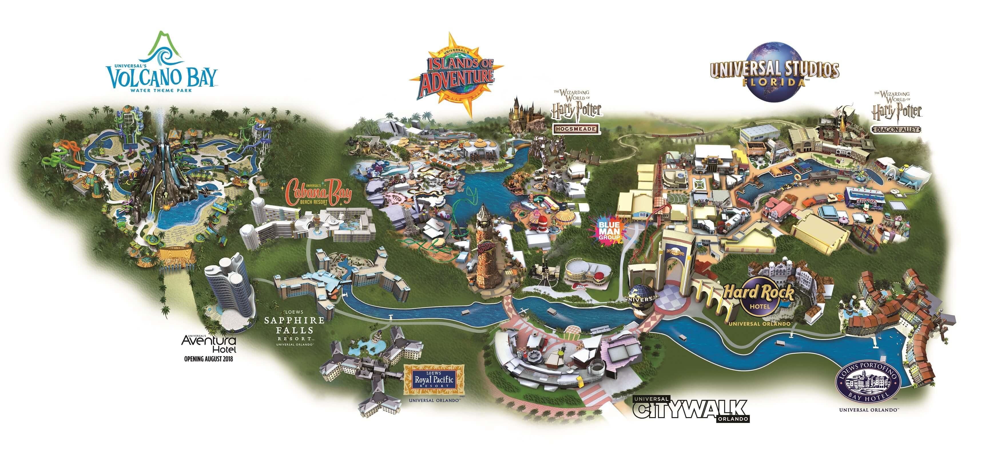 Universal Orlando Florida Map.Guide To The Theme Parks At Universal Orlando Resort