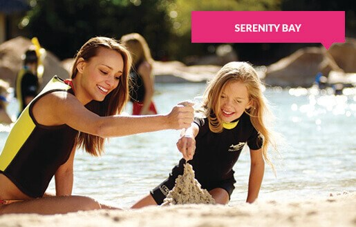 Building a sand castle at Serenity Bay
