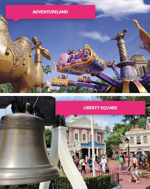 Adventureland and Liberty Square