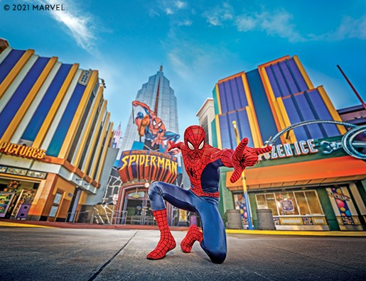 Spiderman with family at Universal Florida